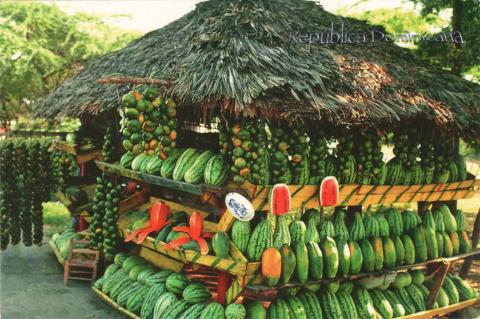 A tropical fruit market in Dominican Republic.